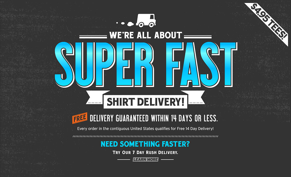 Super speedy. Free delivery. Crazy fast.