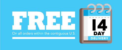 FREE 14 day delivery on all orders within the contiguous U.S.